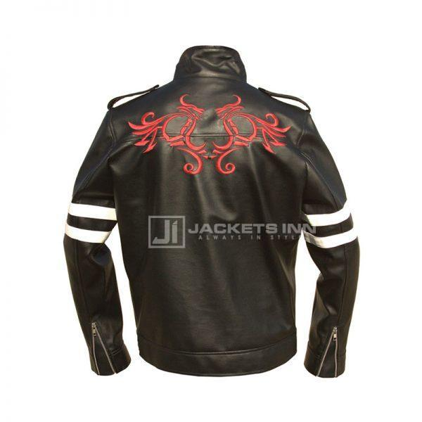 Red black and white leather jacket