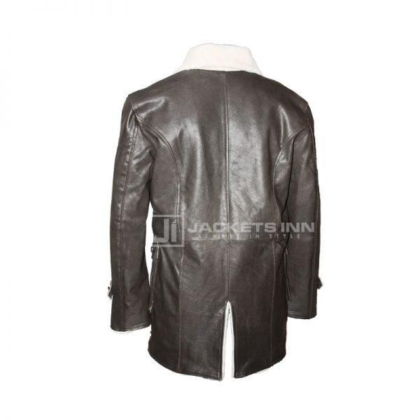 Black leather coat back