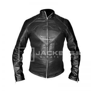 Super Man Black Leather jacket