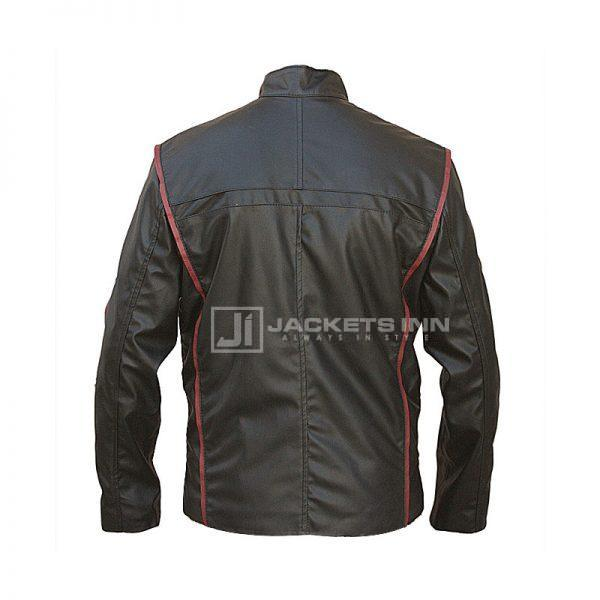 BACK RED AND BLACK LEATHER JACKET