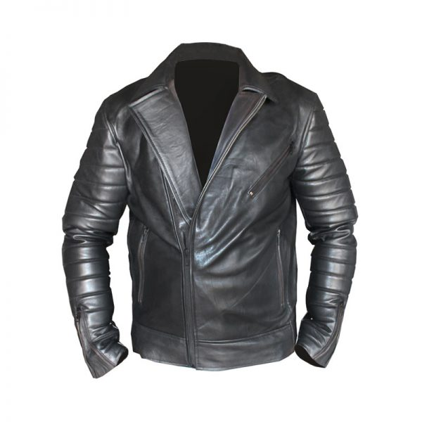 Black Leather Moto Biker Jacket