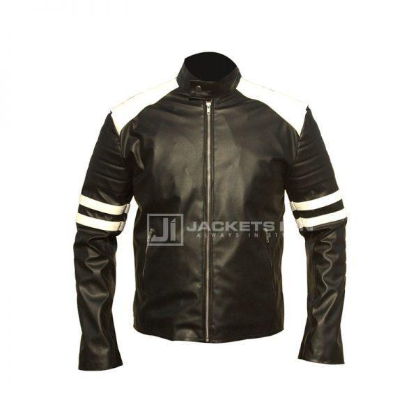 Brad Pitt Fight Club White strip Leather Jacket