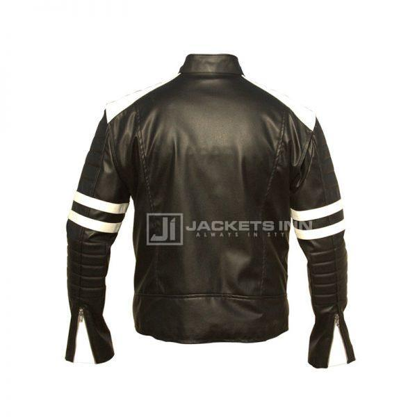 Brad Pitt Fight Club White strip Leather Jacket Back