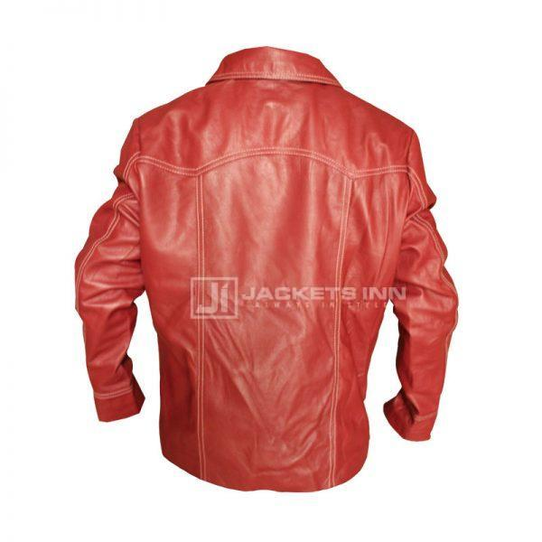 Fight Club Red Leather Jacket BACK