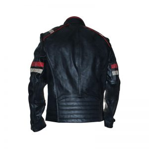 Retro 2 Men Vintage Leather Jacket Biker Cafe Racer Back