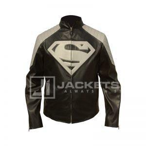 Superman Gray and Black Leather Jacket