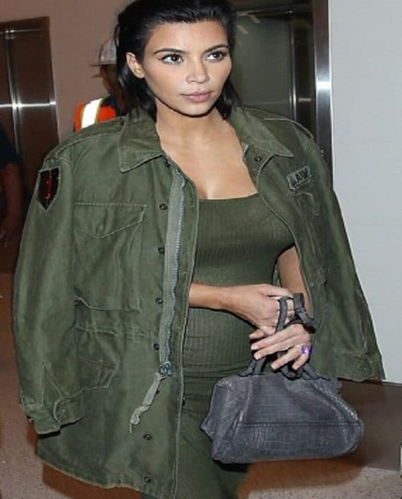 Kim-Kardashian-Army-Green-Jacket