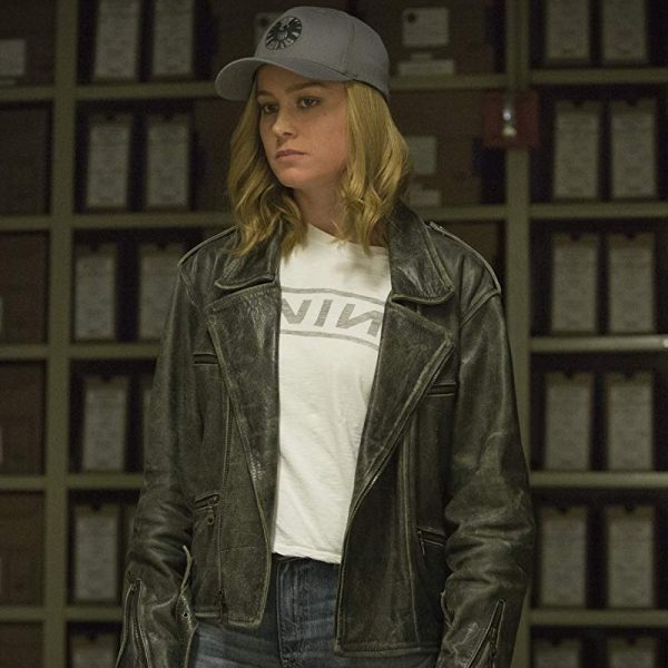 Carol Danvers Captain Marvel Black Leather Jacket fashion,