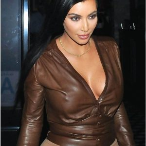 Comfortable-Impressive-Kim-Kardashian-Brown-Leather-Jacket