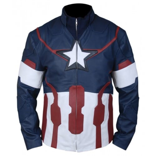 Avengers Age of Ultron Captain America real leather Jacket for Men,
