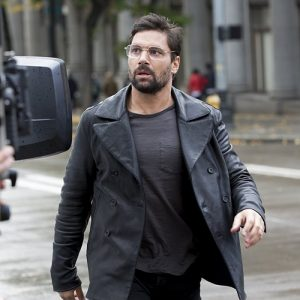 Manu Bennett Fashion Superman movie leather jacket coat.
