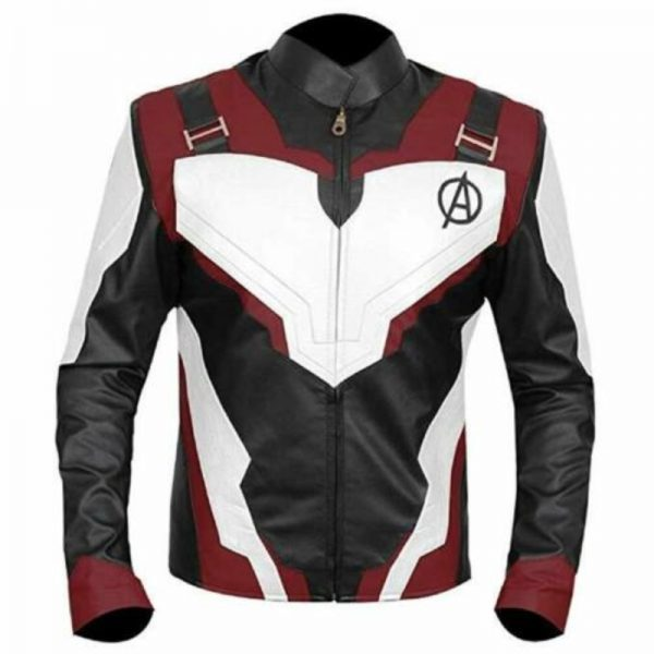 Avengers Endgame Red and White Leather Jacket front