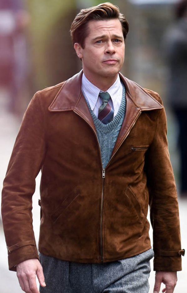 Allied Brad Pitt Suede Brown Jacket