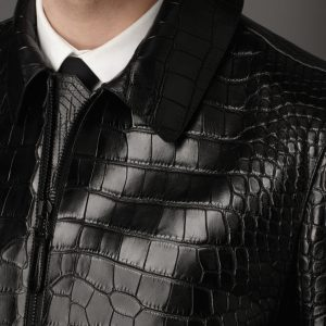 Alligator Leather Black Jacket