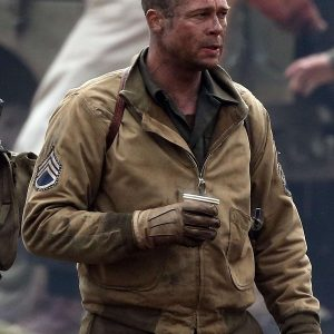 Brad Pitt Fury Brown Cotton Jacket