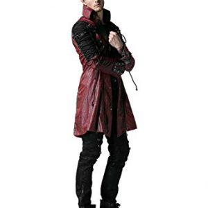 MAROON PUNK RAVE POISON GOTH STEAMPUNK COAT