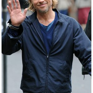 Brad Pitt Blue Movie Replica Jacket in the Classy World War Z