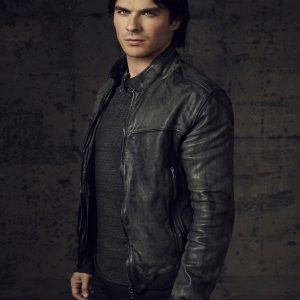Damon Salvatore Vampire Diaries Leather Jacket