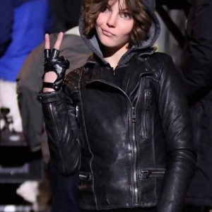 Camren Bicondova Gotham Selina Kyle Black Leather Jacket