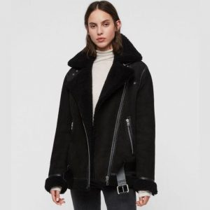 WOMEN BIKER REI SHEARLING JACKET