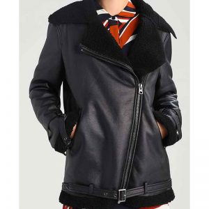 Shearling Aviator Jacket In Black Color For Women