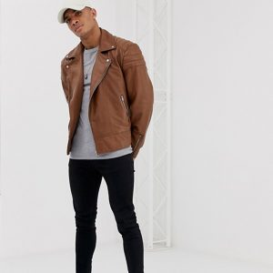 Brown leather tan bomber jacket for men