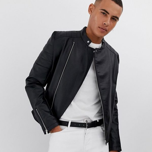 Classic Racer Leather Jacket For Men