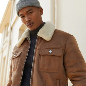 Classic Teddy Lining Suede Leather Jacket For Men