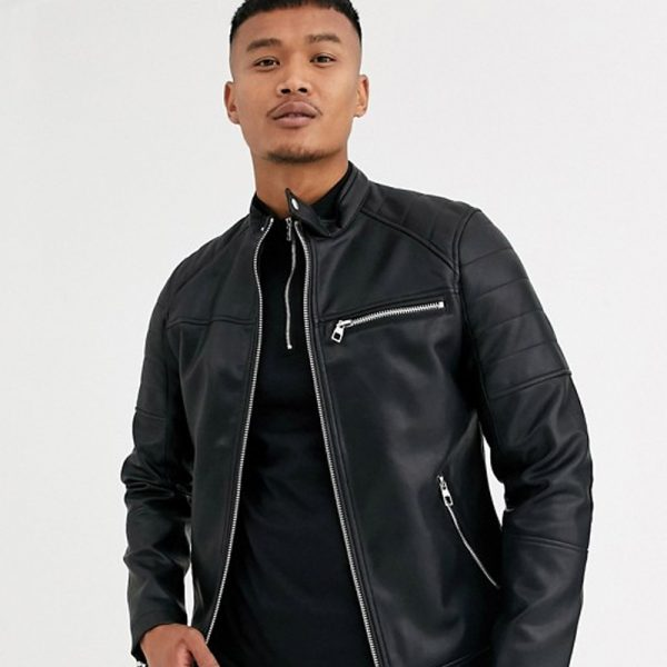 Mens black leather jacket with zip