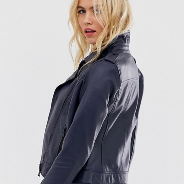 Colored Leather Biker Jacket in Navy