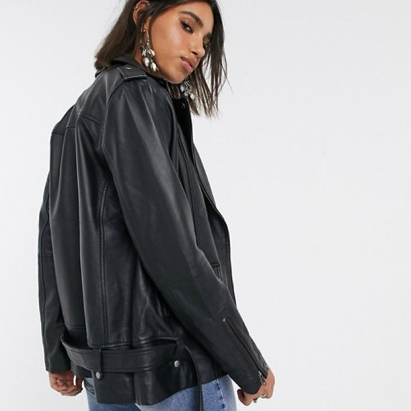 black genuine leather jacket womens