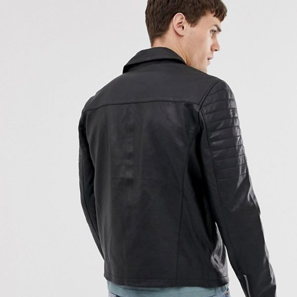 Real Leather Quilted Zipped Biker Jacket