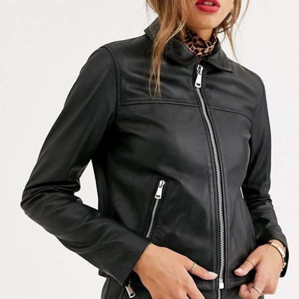Black leather biker zip up jacket for Women