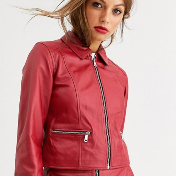 Red leather jacket women online