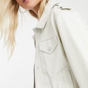Boxy White Color Leather Jacket
