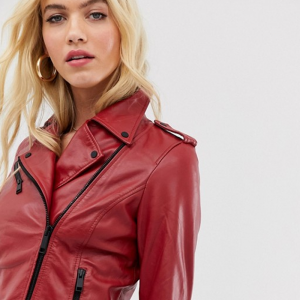 Leather Jacket In Red Colored