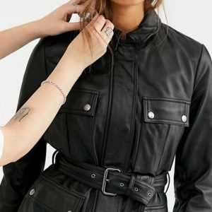 Leather Belted Long Line Jacket
