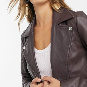 Chocolate Color Leather Jacket