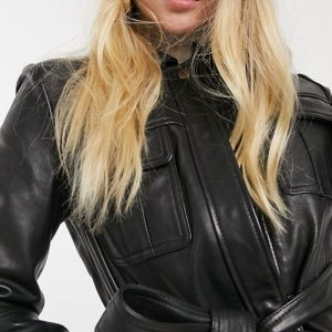 Black Leather Belted Jacket For Women