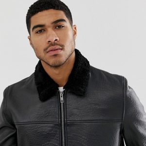 Buy Black Fur Collar Leather Jacket For Men