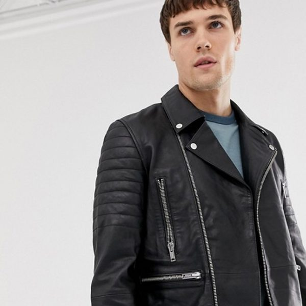 Pure Men's Quilted Zipped Biker Black Leather Jacket