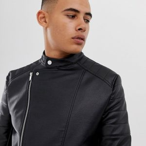 Buy Black Racer Leather Jacket For Men