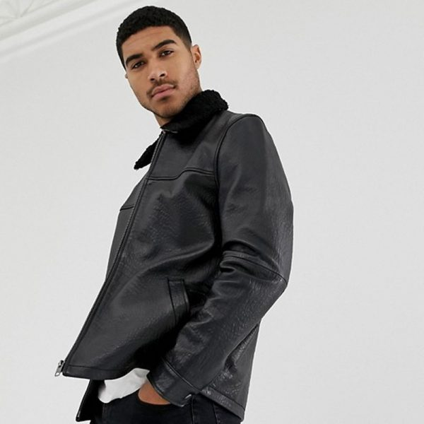 Classic Fur Collar Leather Jacket For Men