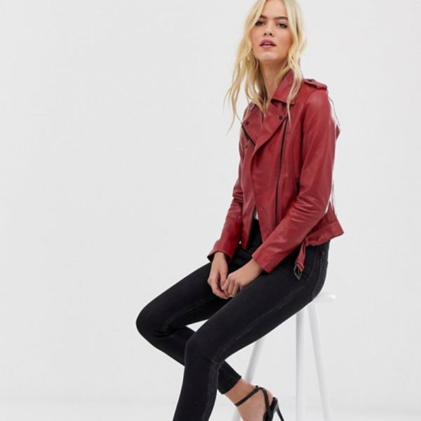 Pure Leather jacket IN Red Colored