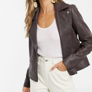 Leather Jacket in Chocolate Color