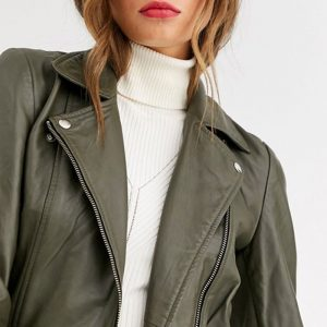 Leather Jacket in Green Color