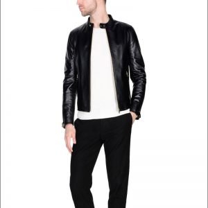 Buy Men Black Shiny Leather Jacket
