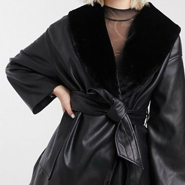 Tie Waist Leather Jacket with Fur Lining