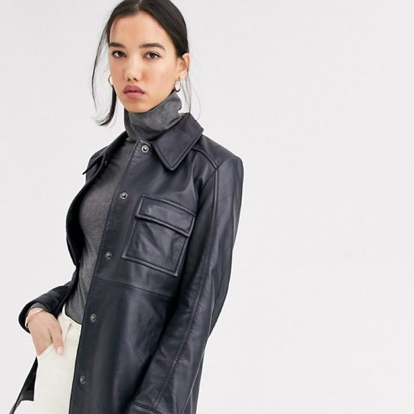 Buy Leather Navy Jacket With longLine