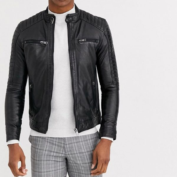 Pure Biker Leather Jacket With 4 Pocket
